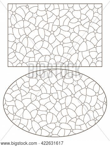 Set Of Contour Illustrations Of Stained Glass With Abstract Background Images, Dark Contours On Whit