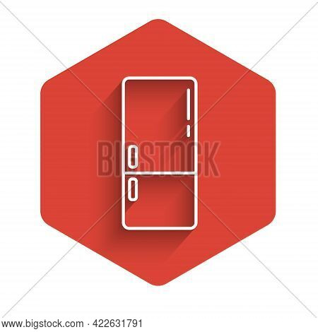 White Line Refrigerator Icon Isolated With Long Shadow. Fridge Freezer Refrigerator. Household Tech