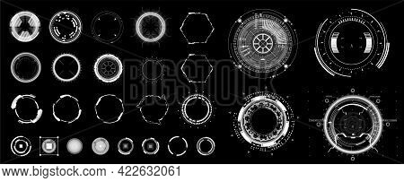 Circle Hud Elements For Ui, Ux, Gui. Set Abstract Digital Circular Shapes. Sky-fi Interface Objects,