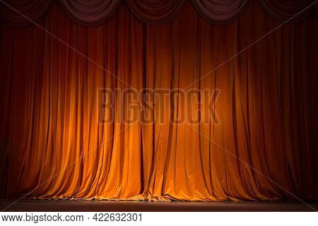 Red-brown Curtain On The Stage With Wooden Floor And Theater Backstage, Background, Texture