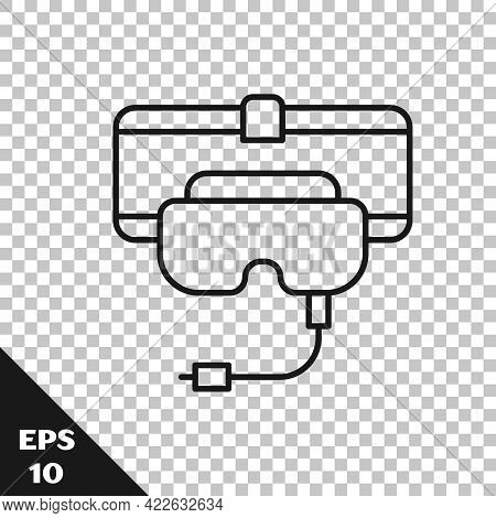 Black Line Virtual Reality Glasses Icon Isolated On Transparent Background. Stereoscopic 3d Vr Mask.