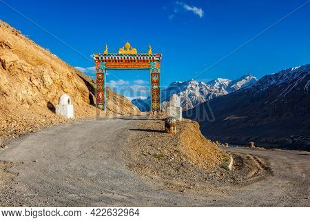Gates of Ki (Kee, Key) Buddhist monastery gompa in Himalayas, Spiti Valley, Himachal Pradesh