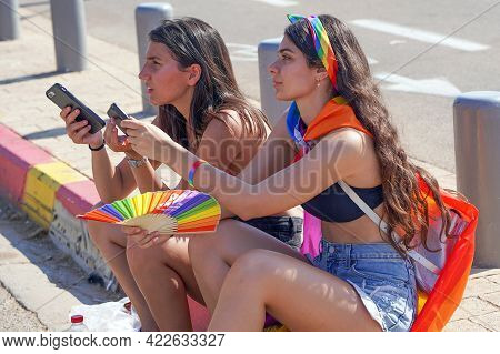 The Annual Parade Lgbt. Portrait Of Two Woman In The Gay Pride Parade. Parade Of Tolerance. Rainbow