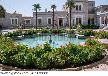 Koreiz, Crimea - July 10. 2019. Yusupov Palace - Museum Ensemble Palace And Garden Park Art On The S