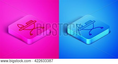 Isometric Line Electric Iron And Ironing Board Icon Isolated On Pink And Blue Background. Steam Iron