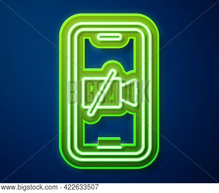 Glowing Neon Line Video Camera Off On Mobile Screen Icon Isolated On Blue Background. No Video. Vect
