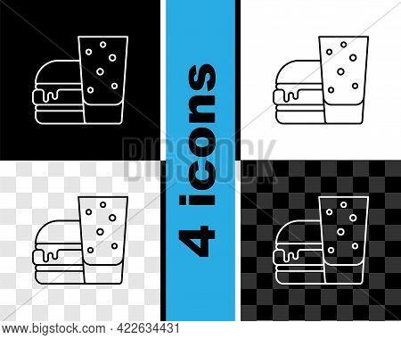 Set Line Burger Icon Isolated On Black And White, Transparent Background. Hamburger Icon. Cheeseburg
