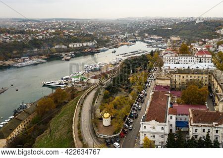Bay With Ships In The City. South Bay In Sevastopol With Civilian And Military Ships. End Of South B