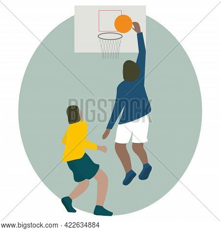 People Playing Basketball Basketball Player Makes Slam Dunk. Back View Vector Illustration Isolated