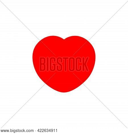 Red Heart Icon Design Flat On White Background, Vector Illustration.