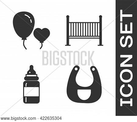 Set Baby Bib, Balloons In Form Of Heart, Baby Bottle And Baby Crib Cradle Bed Icon. Vector