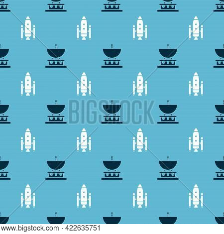 Set Satellite Dish And Space Shuttle And Rockets On Seamless Pattern. Vector