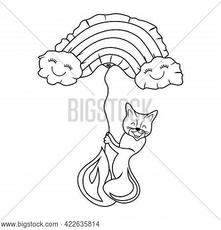 Cute Sable Fly In Balloon In Shape Of Lgbt Rainbow In Doodle. Smilling Sable Coloring Page. First Pe