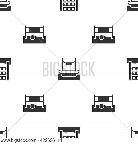 Set Tic Tac Toe Game, Bungee And Volleyball Net With Ball On Seamless Pattern. Vector