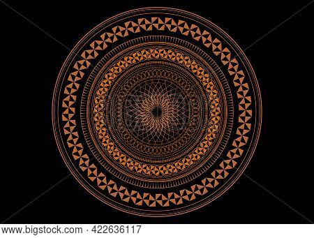 Mandala Sacred Geometry Symbol Elements, Ocher Line Art. Oriental Pattern, Vector Illustration. Isla