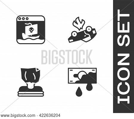 Set Bloody Money, Internet Piracy, Kidnaping And Burning Car Icon. Vector