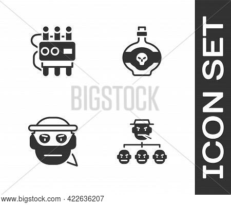 Set Mafia, Dynamite And Timer Clock, Bandit And Poison In Bottle Icon. Vector