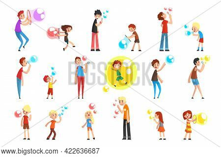 Set Of Happy Children Blowing And Playing Soap Bubbles Cartoon Vector Illustration