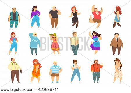 Set Of People Of Overweight People, Cheerful Plus Size Men And Women, Body Positive Concept Cartoon