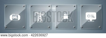 Set Word Oil, Metallic Pipes And Valve, Oil Pump Pump Jack And Tank Storage. Square Glass Panels. Ve