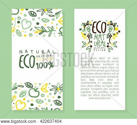 Eco Natural Original Design Card Template With Text, Healthy Vegetarian Food, Eco Store, Farm Market