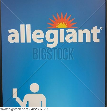 An Allegiant  Airline Sign At Sanford International Airport In Sanford, Florida.