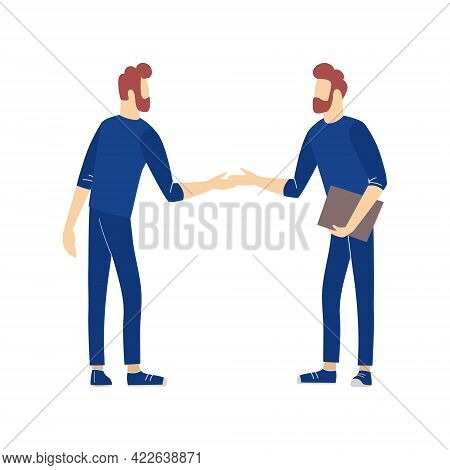 Two Male Standing Together Handshaking. Greeting Gesture Or Successful Negotiations Confirmation, Ag