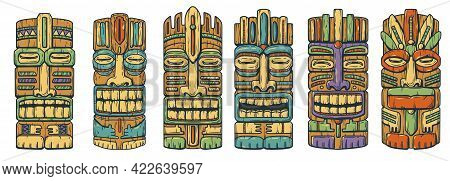Tiki Mask For Hawaii Surfing. Face Set Of Idol