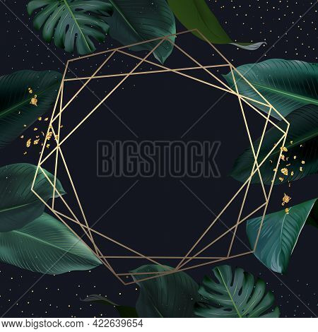 Tropical Elegant Frame Arranged From Exotic Emerald Leaves. Design Vector.