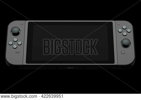 Realistic Video Game Controllers Attached To Mobile Phone On Black Background. 3d Rendering Of Gamep