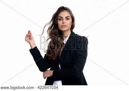 Professional Woman With Long Wavy Hair In Formalwear Isolated On White, Hairstyle