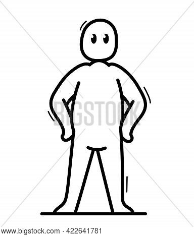 Funny Cartoon Man Standing Confident Vector Flat Style Illustration Isolated On White, Cute And Posi