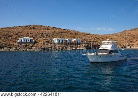 Yacht Anchored Off The Coast Of Kythnos Island, Kolona Beach, Cyclades-greece.
