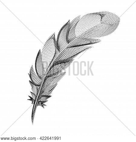 Feather Silhouette Consisting Of Black Dots And Particles. 3d Vector Wireframe Of A Bird Plumage Wit
