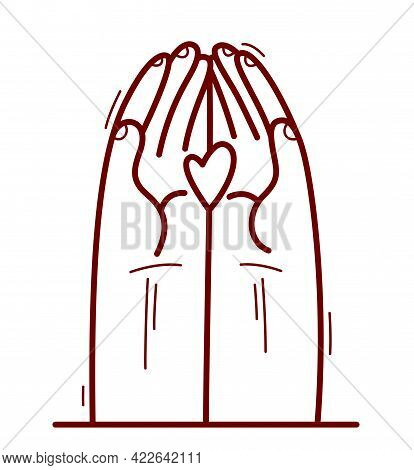 Two Hands And Human Heart Protecting And Showing Care Vector Flat Style Illustration Isolated On Whi