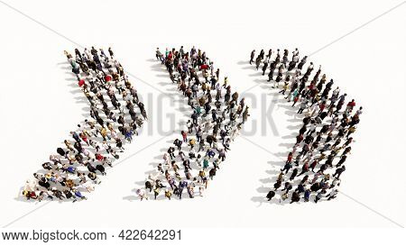 Concept conceptual large community of people forming the dangerous turn road sign. 3d illustration metaphor for caution, warning, safety and guidance