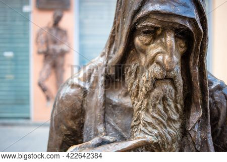 North Macedonia, Skopje, May 2021 Close-up Of Beggar Sculpture In The Capital Of Macedonia