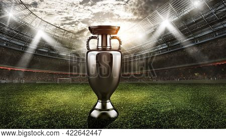 Trophy For The Winning Team Of The Championship In The Center Of The Soccer Stadium