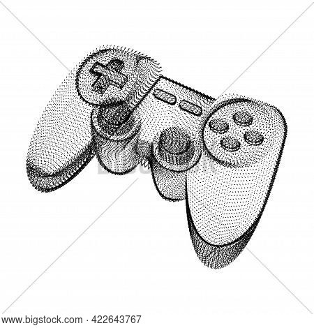 Joystick Silhouette Consisting Of Black Dots And Particles. 3d Vector Wireframe Of A Gamepad Control