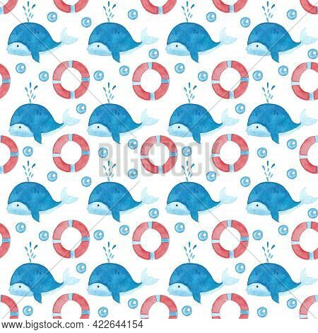 Watercolor Seamless Pattern With Whales And Preservers. Cute Hand Drawn Illustration Of Underwater L