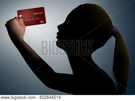 A Girl Holds Up And Inspects Her Red Bank Debit Card In This Dramatically Lighted 3-d Illustration A