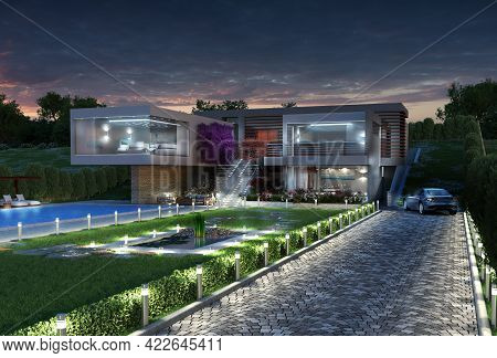 3d Illustration Of A Modern Luxury House With A Pool, At Night, With A Contemporary, Original Archit