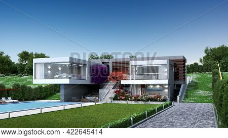 3d Illustration Of A Modern Luxury House With A Pool, In A Contemporary, Original Architectural Desi