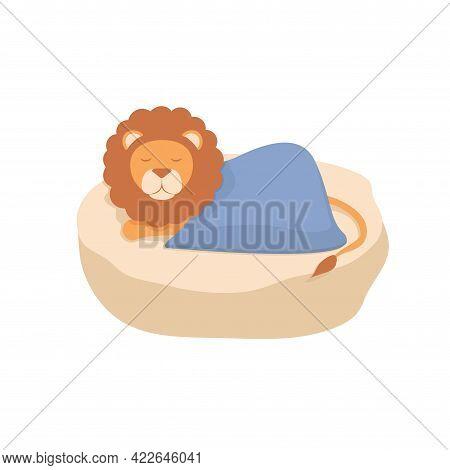 Cute Animal Lion Sleeps On The Stone. Children's Illustration. Beautiful Delicate Print.