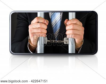 Mobile Phone Addiction And Dependency. Social Networking Slavery