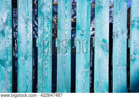 Turquoise Board Background, Old Painted Board Fence, Grunge Wood Paneling, Turquoise Background.