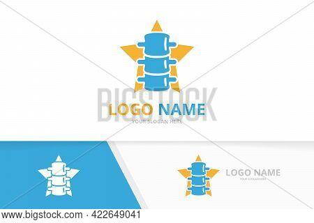 Vector Spine And Star Logo Combination. Vertebral Column And Leader Logotype Design Template.