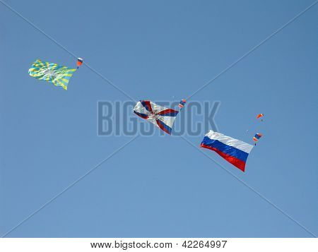 Parachutists With Flags