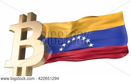 Gold Bitcoin Cryptocurrency With A Waving Venezuela Flag. 3d Rendering