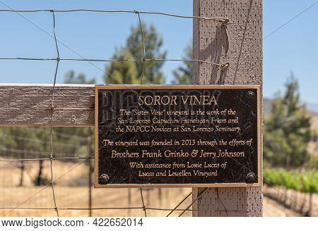 Santa Inez, Ca, Usa - April 3, 2009: San Lorenzo Seminary. Closeup Of Sign At Tiny Vineyard Called S